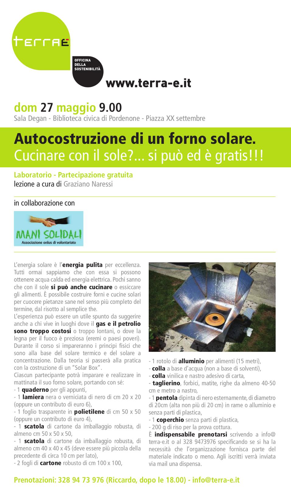 Terra 2012 autocostruzione di un forno solare cucinare - Cucinare con il forno a legna ...